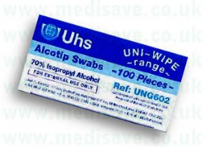 Uni-Wipe Pre-injection Swabs per Box of 100.