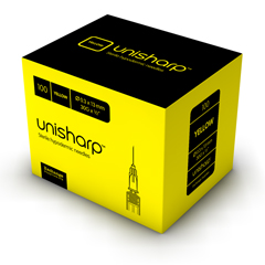 Unisharp Yellow needle: 30 gauge, 13mm (1/2 inch). x 100.